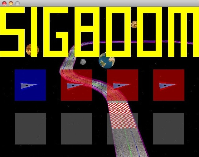 The SIGBOOM lobby screen. A grid of eight player slots is overlaid over a race track in space. A blue player ship and 3 red AI ships are waiting in the lobby.